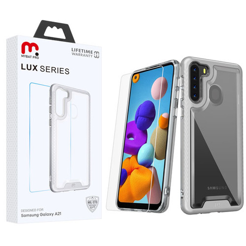 MyBat Pro Lux Series Hybrid Case (Tempered Glass Screen Protector) for Samsung Galaxy A21 - Silver / Transparent Clear
