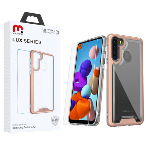 MyBat Pro Lux Series Hybrid Case (Tempered Glass Screen Protector) for Samsung Galaxy A21 - Rose Gold / Transparent Clear