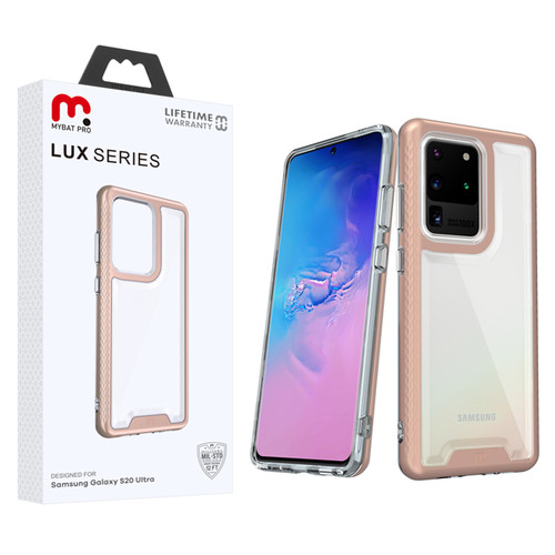 MyBat Pro Lux Series Hybrid Case for Samsung Galaxy S20 Ultra (6.9) - Rose Gold / Transparent Clear