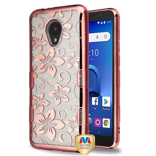 MyBat Full Glitter TUFF Hybrid Protector Cover for Alcatel 1X Evolve - Electroplating Rose Gold Hibiscus Flower (Transparent Clear)