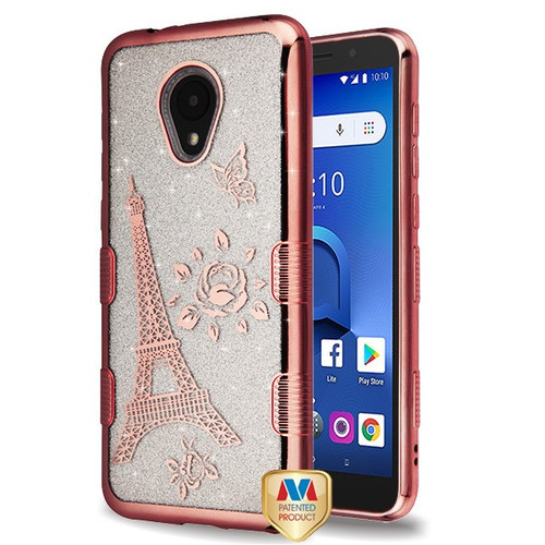 MyBat Full Glitter TUFF Hybrid Protector Cover for Alcatel 1X Evolve - Electroplating Rose Gold Eiffel Tower (Transparent Clear)