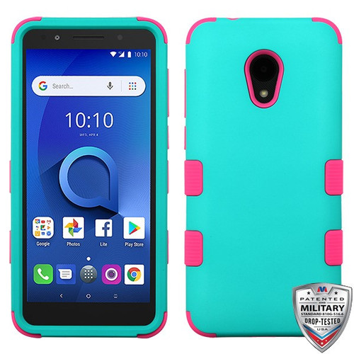 MyBat TUFF Hybrid Protector Cover [Military-Grade Certified] for Alcatel 1X Evolve - Rubberized Teal Green / Electric Pink