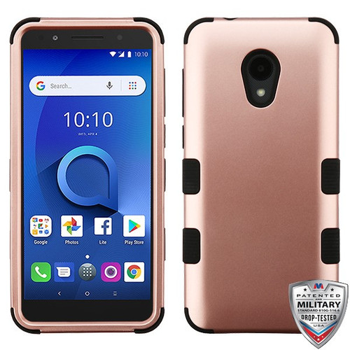 MyBat TUFF Hybrid Protector Cover [Military-Grade Certified] for Alcatel 1X Evolve - Rose Gold / Black