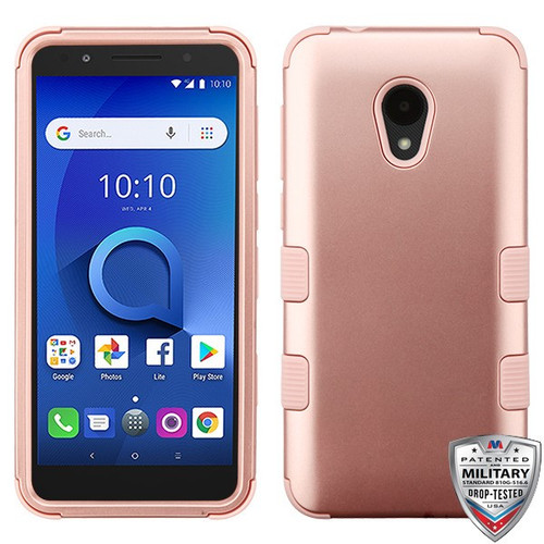 MyBat TUFF Hybrid Protector Cover [Military-Grade Certified] for Alcatel 1X Evolve - Rose Gold / Rose Gold