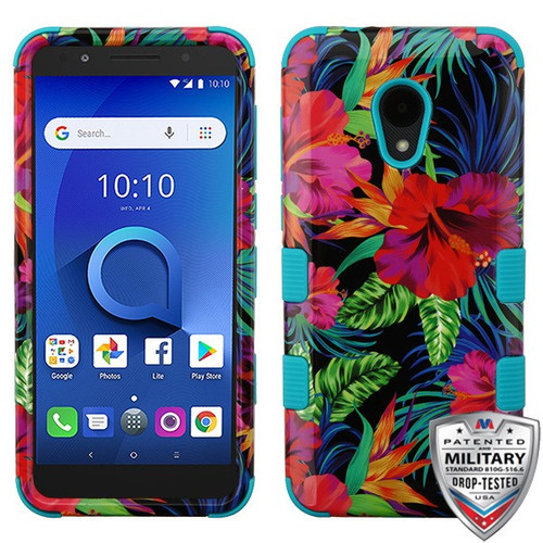 MyBat TUFF Hybrid Protector Cover [Military-Grade Certified] for Alcatel 1X Evolve - Electric Hibiscus / Tropical Teal