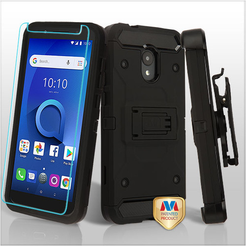 MyBat 3-in-1 Kinetic Hybrid Protector Cover Combo (with Black Holster)(Tempered Glass Screen Protector) for Alcatel 1X Evolve - Black / Black