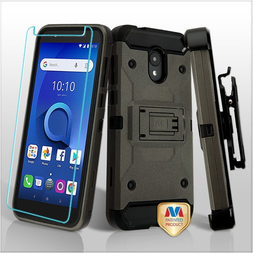 MyBat 3-in-1 Kinetic Hybrid Protector Cover Combo (with Black Holster)(Tempered Glass Screen Protector) for Alcatel 1X Evolve - Dark Grey / Black