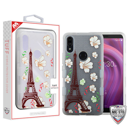 MyBat TUFF Hybrid Protector Cover [Military-Grade Certified] for Alcatel 5032w (3v 2019) - Semi Transparent White Frosted Eiffel Tower in the Season of Blooming / Transparent White