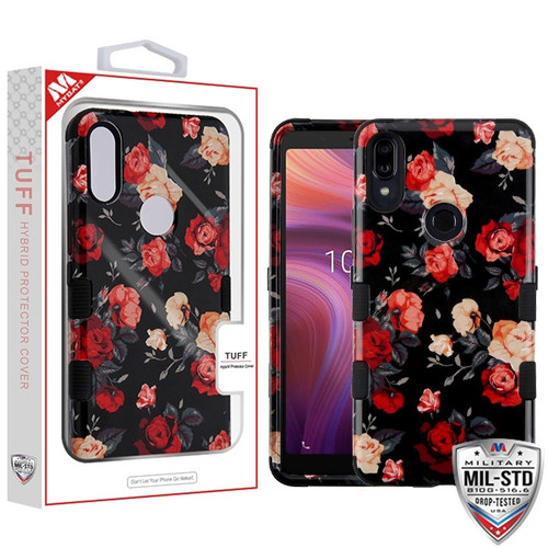 MyBat TUFF Hybrid Protector Cover [Military-Grade Certified] for Alcatel 5032w (3v 2019) - Red and White Roses / Black
