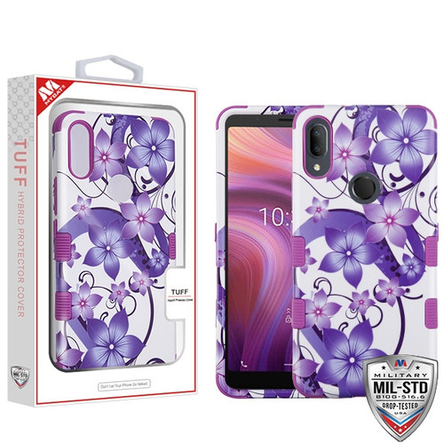 MyBat TUFF Hybrid Protector Cover [Military-Grade Certified] for Alcatel 5032w (3v 2019) - Purple Hibiscus Flower Romance / Electric Purple