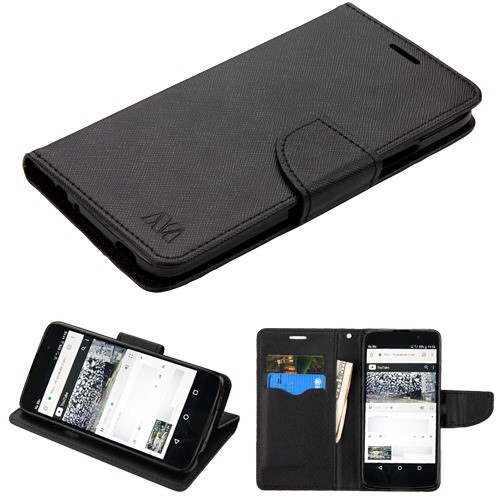 MyBat Liner MyJacket Wallet Crossgrain Series for Alcatel 6060C Idol 5 - Black Pattern / Black
