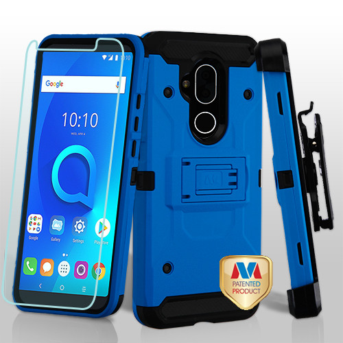 MyBat 3-in-1 Kinetic Hybrid Protector Cover Combo (with Black Holster)(Tempered Glass Screen Protector) for Alcatel 7 Folio - Blue / Black