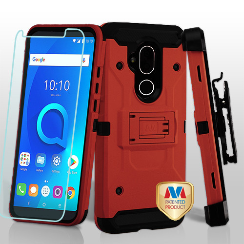 MyBat 3-in-1 Kinetic Hybrid Protector Cover Combo (with Black Holster)(Tempered Glass Screen Protector) for Alcatel 7 Folio - Red / Black