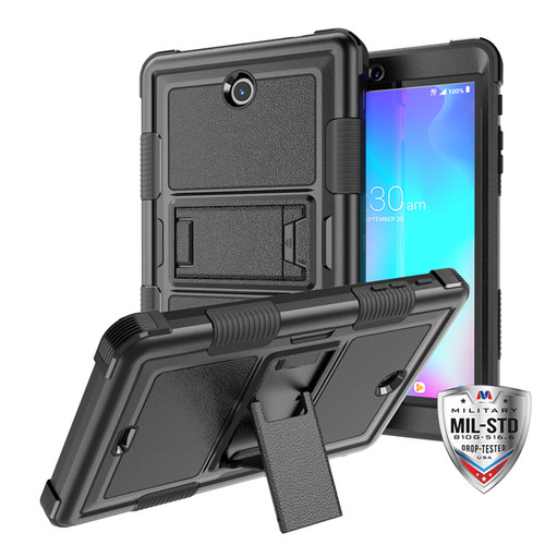 MyBat TUFF Hybrid Protector Cover (with Stand) [Military - Grade Certified] for Alcatel JOY TAB - Natural Black / Black