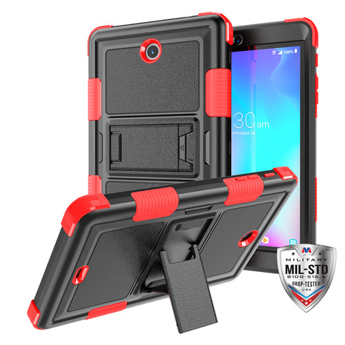 MyBat TUFF Hybrid Protector Cover (with Stand) [Military - Grade Certified] for Alcatel JOY TAB - Natural Black / Red
