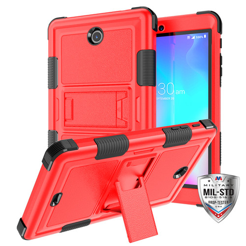 MyBat TUFF Hybrid Protector Cover (with Stand) [Military - Grade Certified] for Alcatel JOY TAB - Natural Red / Black