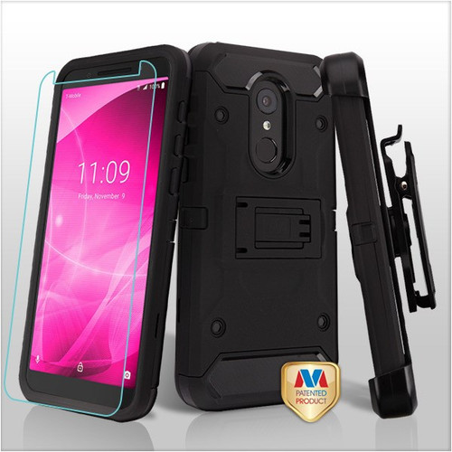 MyBat 3-in-1 Kinetic Hybrid Protector Cover Combo (with Black Holster)(Tempered Glass Screen Protector) for Alcatel Revvl 2 - Black / Black