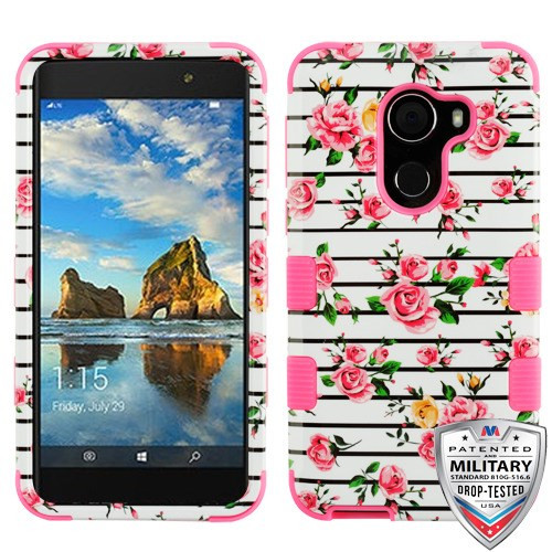 MyBat TUFF Hybrid Protector Cover [Military-Grade Certified] for Alcatel Walters - Pink Fresh Roses / Electric Pink