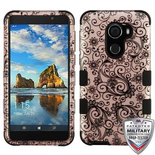 MyBat TUFF Hybrid Protector Cover [Military-Grade Certified] for Alcatel Walters - Black Four-Leaf Clover (2D Rose Gold) / Black