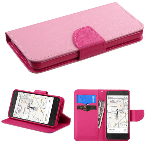 MyBat Liner MyJacket Wallet Crossgrain Series for Amazon Fire phone - Pink Pattern / Hot Pink