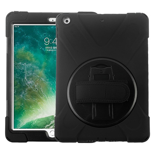 MyBat Rotatable Stand Protector Cover (with Wristband) for Apple iPad 9.7 (2017) (A1822,A1823) - Black / Black