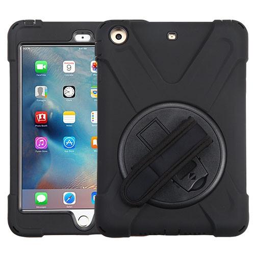 MyBat Rotatable Stand Protector Cover (with Wristband) for Apple iPad mini (A1432,A1454,A1455) - Black / Black