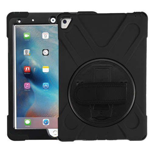 MyBat Rotatable Stand Protector Cover (with Wristband) for Apple iPad Pro 9.7 (A1673,A1674,A1675) - Black / Black