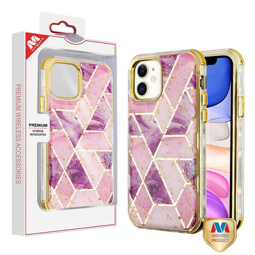 MyBat TUFF Kleer Hybrid Case for Apple iPhone 11 - Electroplated Purple Marble / Electroplating Gold