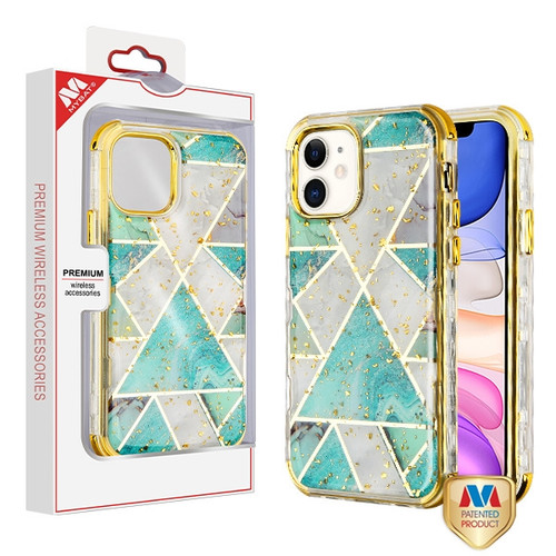 MyBat TUFF Kleer Hybrid Case for Apple iPhone 11 - Electroplated Green Marble / Electroplating Gold