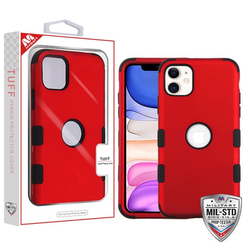 MyBat TUFF Hybrid Protector Cover [Military-Grade Certified] for Apple iPhone 11 - Titanium Red / Black