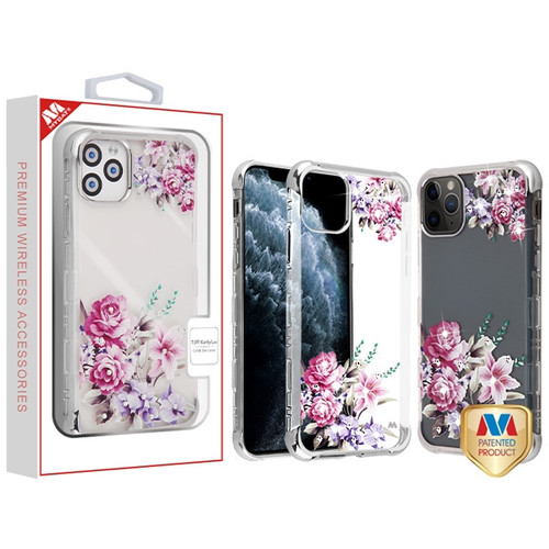 MyBat Diamante TUFF Klarity Lux Candy Skin Cover for Apple iPhone 11 Pro - Silve Plating / Romantic Love Flowers