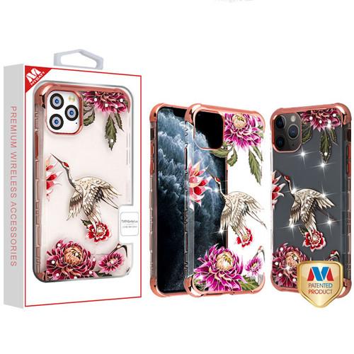 MyBat Diamante TUFF Klarity Lux Candy Skin Cover for Apple iPhone 11 Pro - Rose Gold Plating / Crane