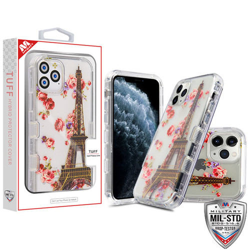 MyBat TUFF Lucid Hybrid Protector Cover [Military-Grade Certified] for Apple iPhone 11 Pro - Transparent Clear / Paris in Full Bloom