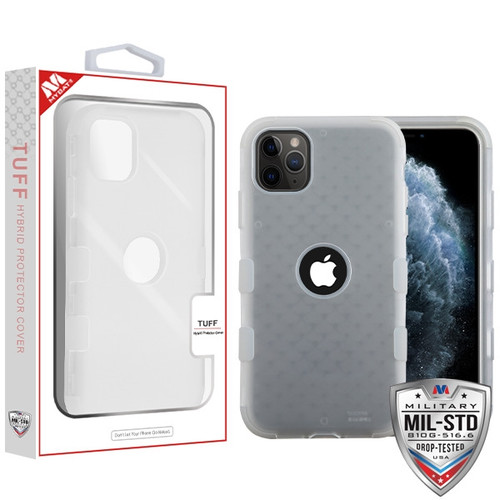 MyBat TUFF Hybrid Protector Cover [Military-Grade Certified] for Apple iPhone 11 Pro - Semi Transparent White Frosted / Transparent White