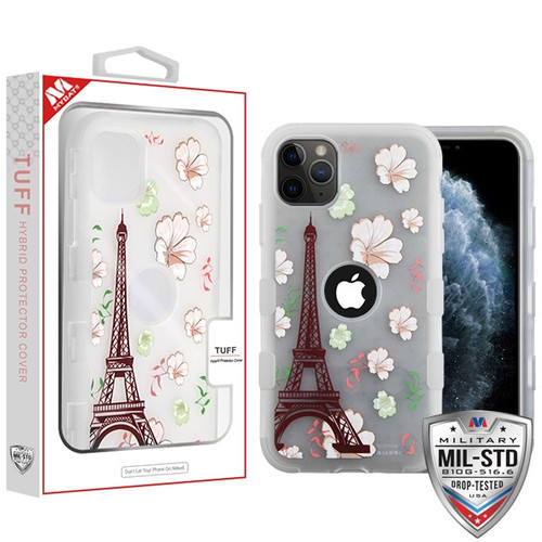 MyBat TUFF Hybrid Protector Cover [Military-Grade Certified] for Apple iPhone 11 Pro - Semi Transparent White Frosted Eiffel Tower in the Season of Blooming / Transparent White
