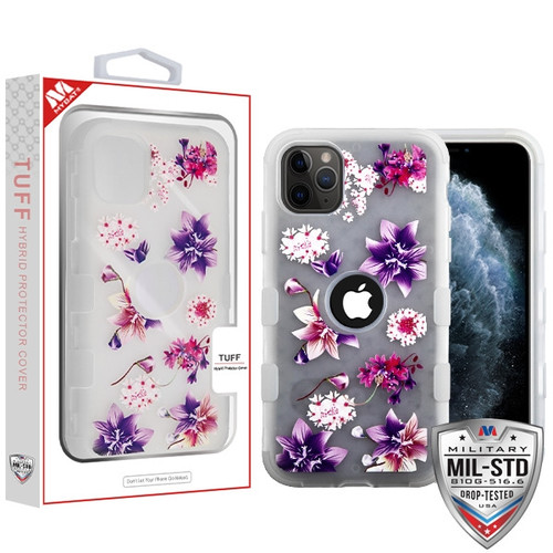 MyBat TUFF Hybrid Protector Cover [Military-Grade Certified] for Apple iPhone 11 Pro - Semi Transparent White Frosted Purple Stargazers / Transparent White