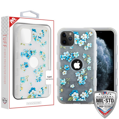MyBat TUFF Hybrid Protector Cover [Military-Grade Certified] for Apple iPhone 11 Pro - Semi Transparent White Frosted Aqua Myositis / Transparent White