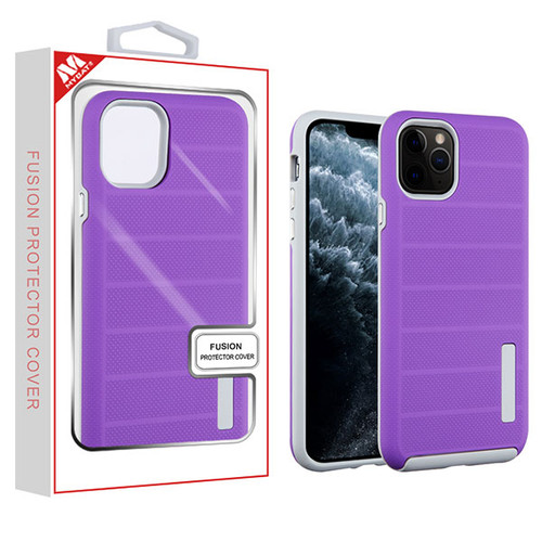 MyBat Fusion Protector Cover for Apple iPhone 11 Pro - Purple Dots Textured / Light Gray