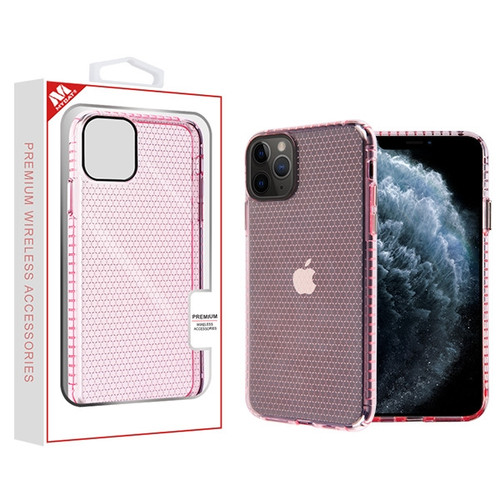 MyBat Hexagon Sturdy Candy Skin Cover for Apple iPhone 11 Pro - Transparent Pink