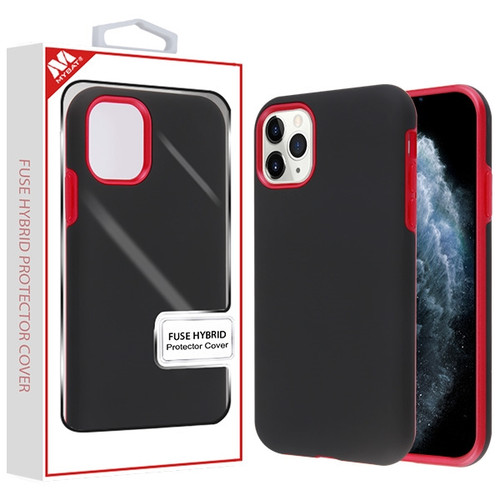 MyBat Fuse Hybrid Protector Cover for Apple iPhone 11 Pro - Rubberized Black / Metallic Red