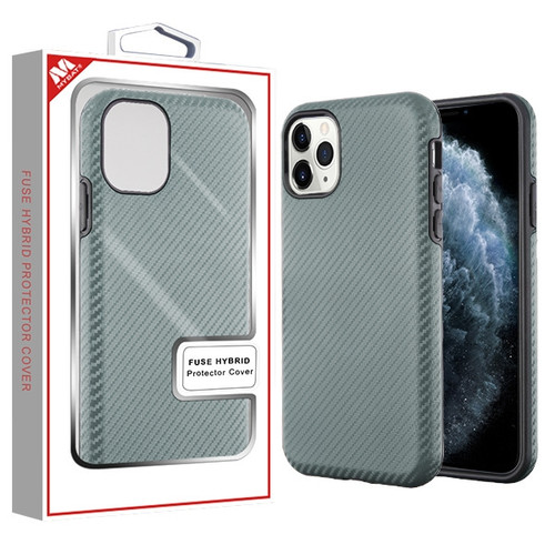 MyBat Fuse Hybrid Protector Cover for Apple iPhone 11 Pro - Dark Gray Carbon Fiber Texture / Black