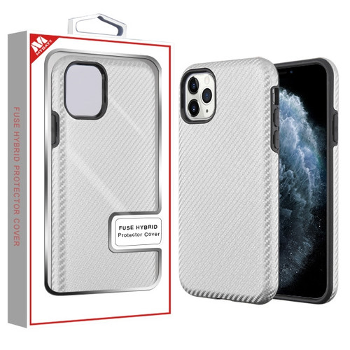 MyBat Fuse Hybrid Protector Cover for Apple iPhone 11 Pro - Silver Carbon Fiber Texture / Black