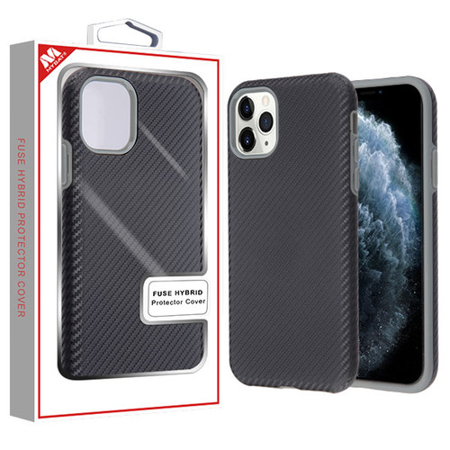 MyBat Fuse Hybrid Protector Cover for Apple iPhone 11 Pro - Black Carbon Fiber Texture / Iron Gray