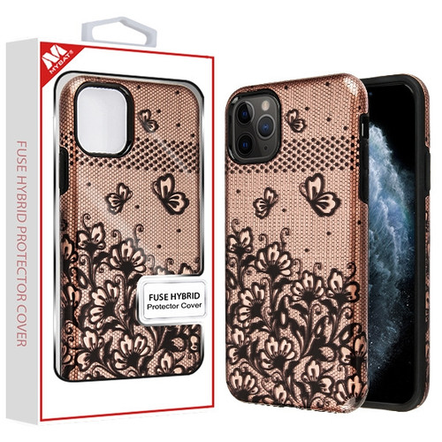 MyBat Fuse Hybrid Protector Cover for Apple iPhone 11 Pro - Black Lace Flowers (2D Rose Gold) / Black