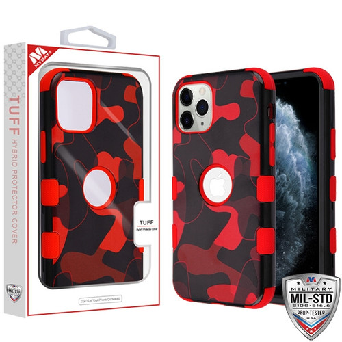 MyBat TUFF Hybrid Protector Cover [Military-Grade Certified] for Apple iPhone 11 Pro - Red Camouflage / Red