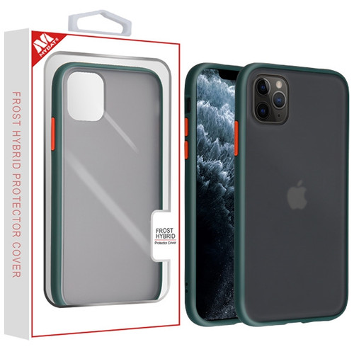 MyBat Frost Hybrid Protector Cover for Apple iPhone 11 Pro - Semi Transparent Smoke Frosted / Rubberized Midnight Green