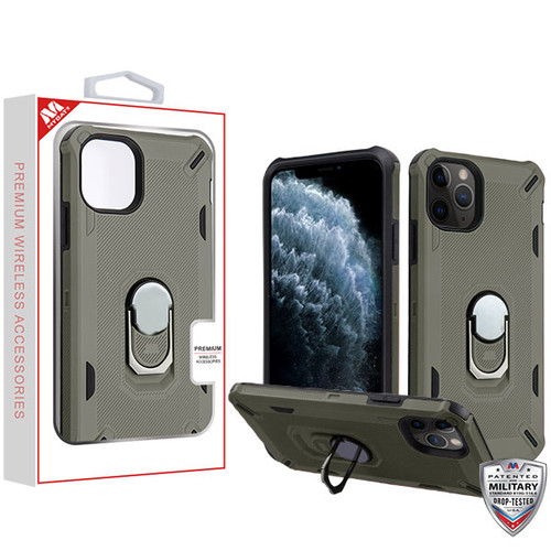 MyBat Brigade Hybrid Protector Cover (with Ring Stand) for Apple iPhone 11 Pro - Dark Grey / Black