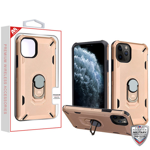 MyBat Brigade Hybrid Protector Cover (with Ring Stand) for Apple iPhone 11 Pro - Rose Gold / Black