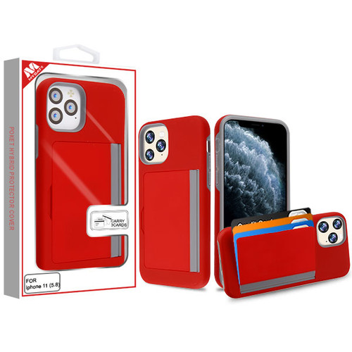 MyBat Poket Hybrid Protector Cover (with Back Film) for Apple iPhone 11 Pro - Red / Gray