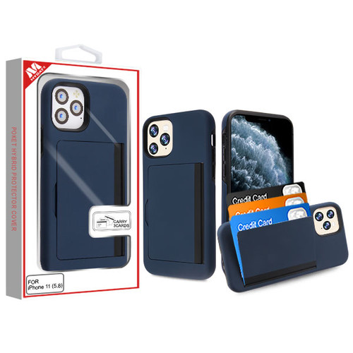 MyBat Poket Hybrid Protector Cover (with Back Film) for Apple iPhone 11 Pro - Ink Blue / Black